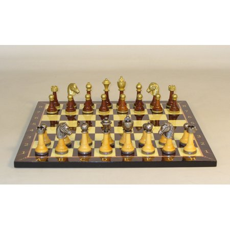 Staunton Maple/Golden Rosewood and Metal Chessmen on Wood Decoupage Chess Board Bronze Metal Chess