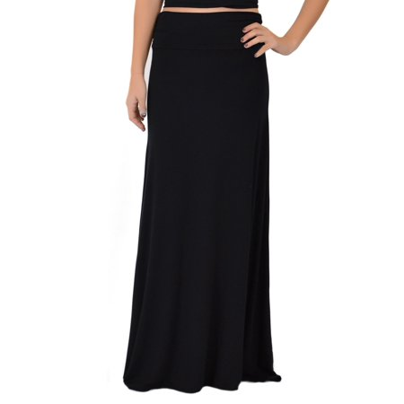 Women's MAXI Long Flowy Stretchy Skirt - Large (8-10) / Black