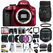 Nikon D3300 Red DSLR Digital Camera + 18-55mm VR II + Sigma 70-300mm Lens + 128GB Memory + (2) Batteries + Charger + LED Video Light + Backpack + Case + Filters + Auxiliary Lenses