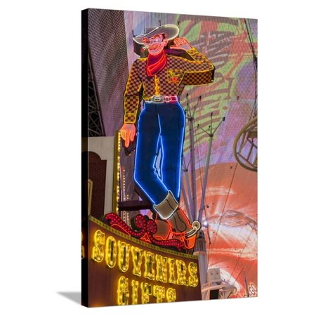 Vegas Vic Cowboy Neon Sign, Fremont Experience, Las Vegas Stretched Canvas Print Wall Art By Michael DeFreitas