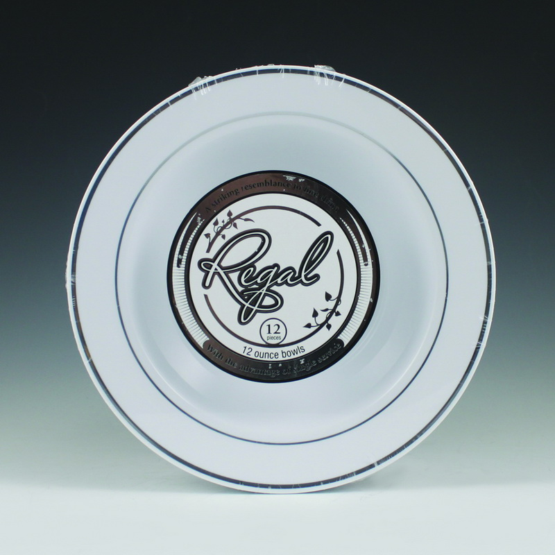 (Price/case)Maryland Plastics 12 oz. Regal Soup Bowl-White with Silver Trim