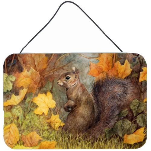 Caroline's Treasures Squirrel in Fall Leaves by Daphne Baxter Painting Print Plaque