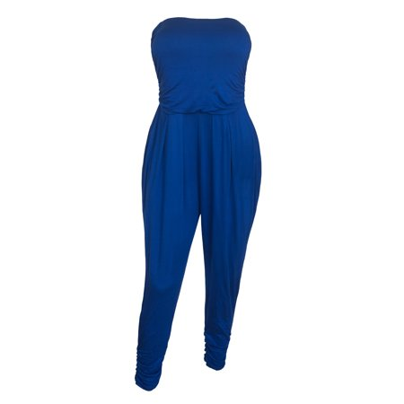 eVogues Plus Size Jumpsuit Royal Blue](Blue Jumpsuit)