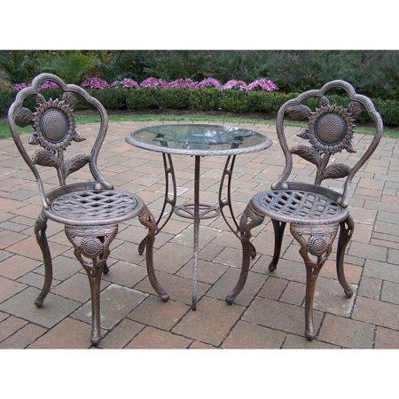 Oakland Living Corporation Auburn Antique Bronze Cast Aluminum 3-Piece Bistro Set