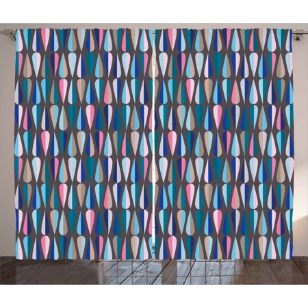 Mid Century Curtains 2 Panels Set, Modern Style Retro Pattern with Droplet Shapes Mosaic in Various Color Tones, Window Drapes for Living Room Bedroom, 108W X 84L Inches, Multicolor, by (Mid Profile 6 Panel)