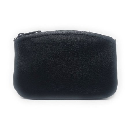 Classic Men's Large Coin Pouch Change Holder, Genuine Leather, Zippered Change Purse, Pouch Size 5 x 3 By Nabob (Black)