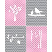 Rocket Bug 4 Piece Modern Birds Paper Print Set