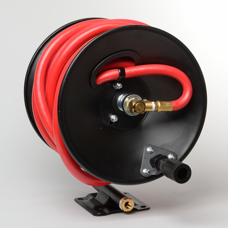 "3/8"" X 50 Foot Mountable Rubber Air Hose Reel Hand Crank Rewind Manual"