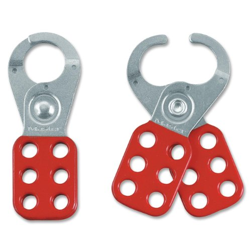 Master Lock 420 Steel Lockout Hasp - 6 Lock Support - Steel Shackle - Red (MLK420)
