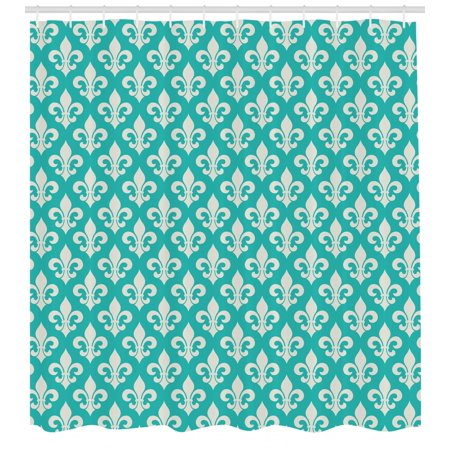 Lis Set - Fleur de Lis Shower Curtain, Classic Fleur de Lis Motif with Victorian Rococo Style Artsy Effects, Fabric Bathroom Set with Hooks, 69W X 75L Inches Long, Turquoise and Beige, by Ambesonne