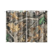 MYPOP Timber Real Tree Window Curtain Kitchen Curtain 26x39 inches (Two Pieces)