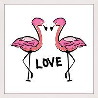 """Marmont Hill """"Love Flamingos"""" by Shayna Pitch Framed Painting Print"""