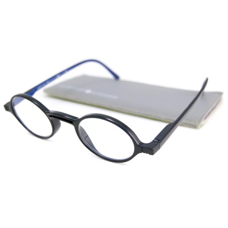 Gabriel + Simone  Readers Men's/Unisex Rond Round Black-and-Blue Reading (Round Reader Glasses)