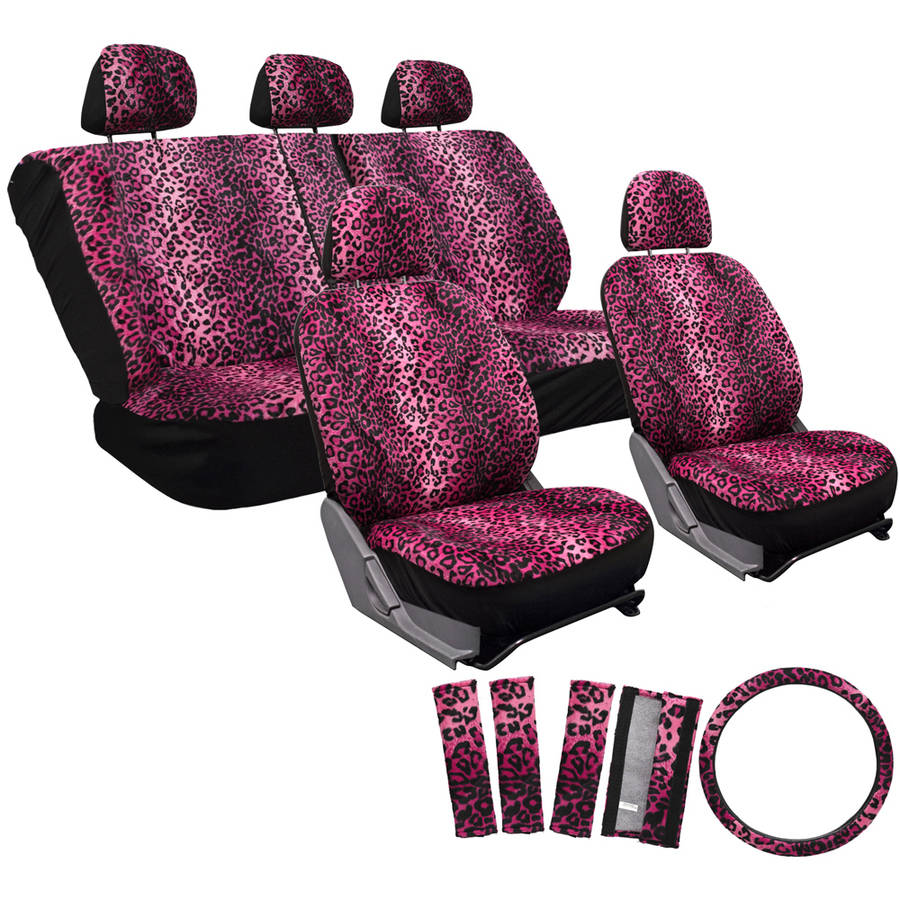 OxGord 17-Piece Set Leopard Animal Print Auto Seat Covers Set, Front Low Back Buckets, Rear Split Bench, Pink