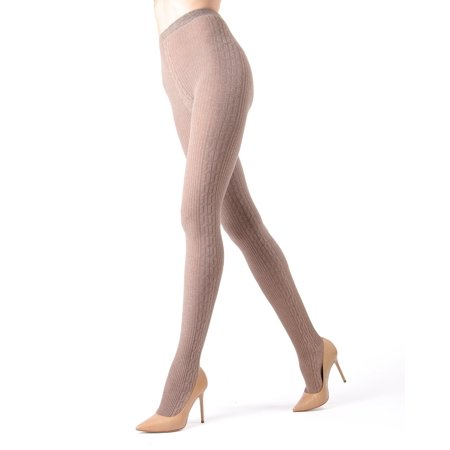 Memoi Portland Side Cable Sweater Tights | Women's Hosiery - Pantyhose Medium/Large / Lt Taupe Heather MO 360