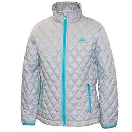 Snozu Girls' Glacier Shield Quilted Jacket - Silver/Frozen Blue (small 7/8)