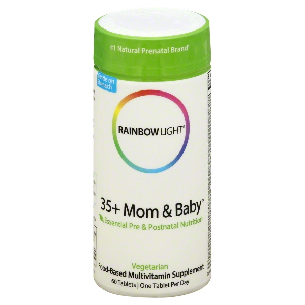 Rainbow Light 35 + Mom and Baby Essential Pre & Postnatal Nutrition, Food-Based Multivitamin, 60 Tablets (60 Day Supply)