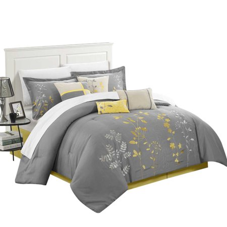 Yellow Comforter - Chic Brooke Bliss Garden 8 Piece Comforter Set King & Queen Yellow