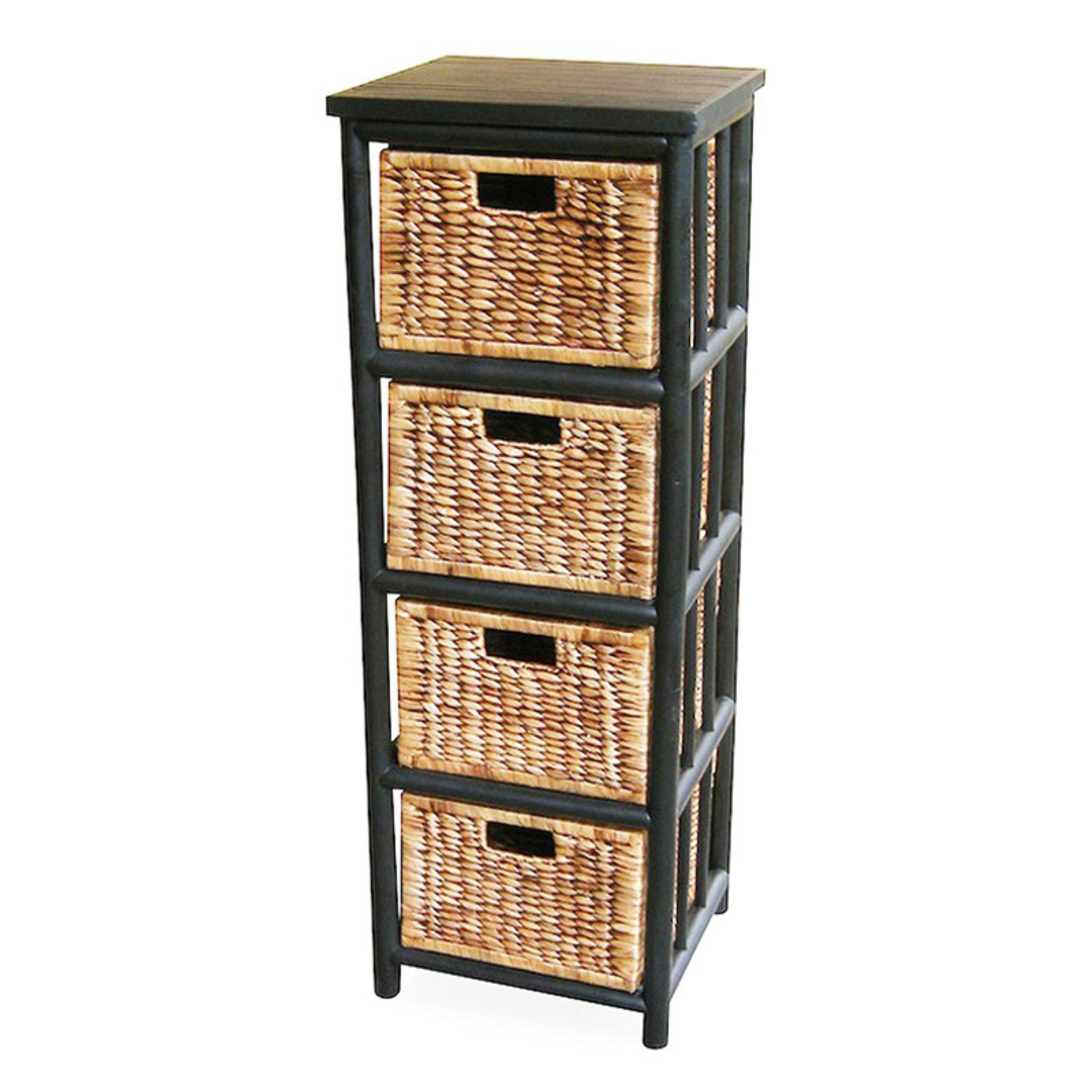 Heather Ann Creations Kona 4 Drawer Open Sided Bamboo Storage Cabinet