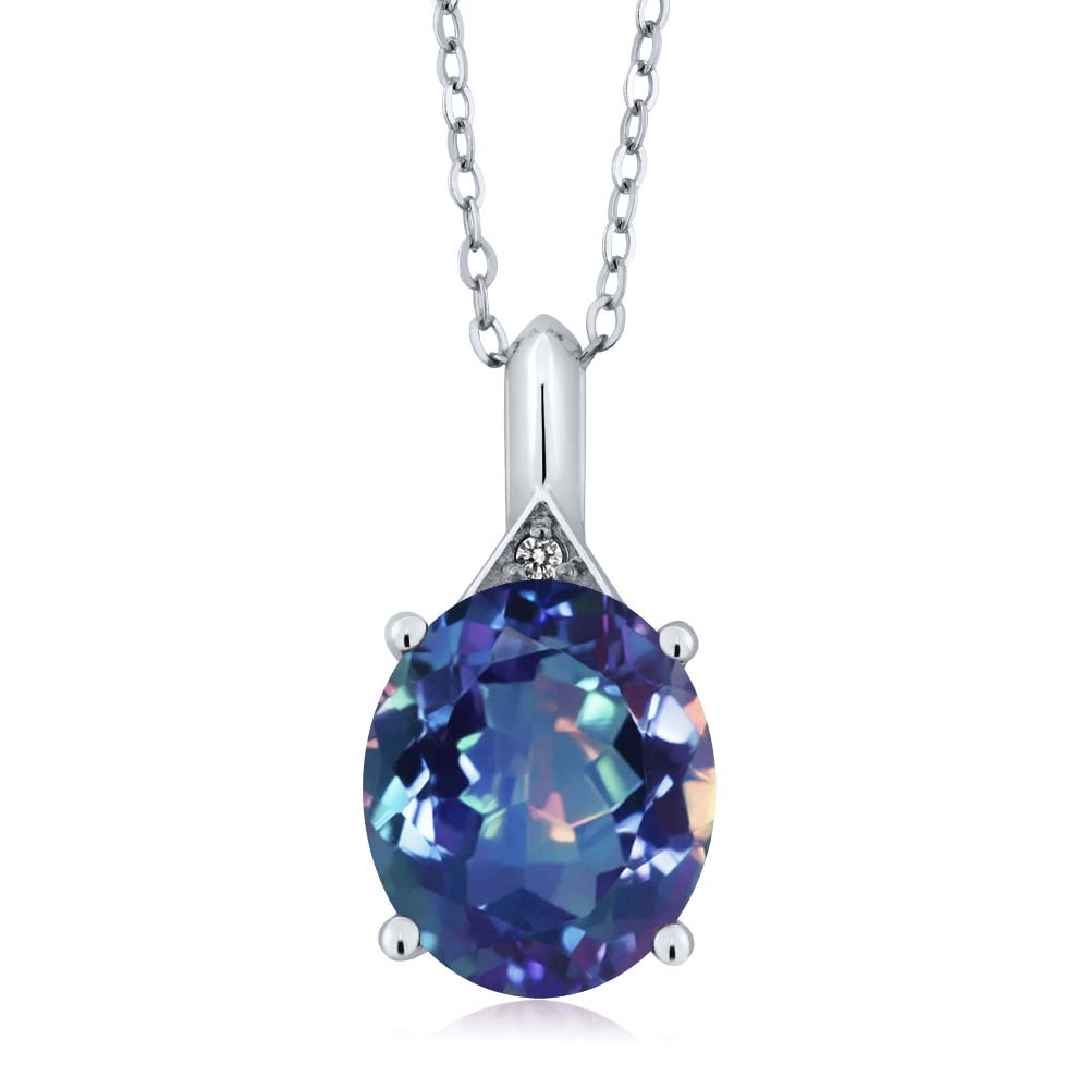 4.02 Ct Millennium Blue Mystic Quartz White Diamond 925 Sterling Silver Pendant