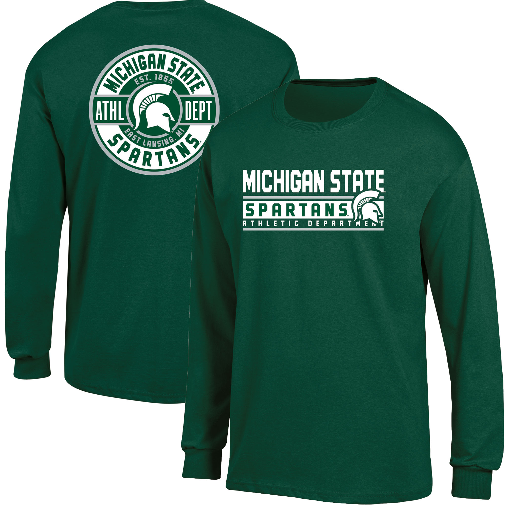 Men's Russell Green Michigan State Spartans Back Hit Long Sleeve T-Shirt