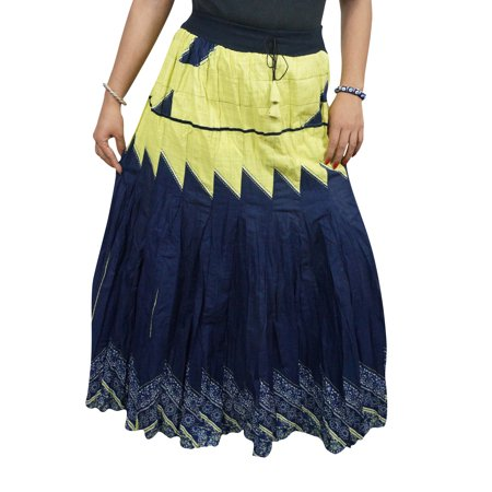 Mogul Women's Blue Long Skirt Cotton Blend Peasant Tiered Holiday Long Skirts