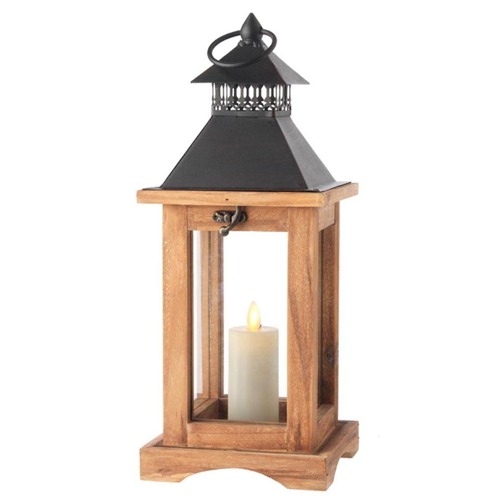 "Liown 36028 - 14.5"" Natural Wood/Black Metal Lantern 1.5""..."