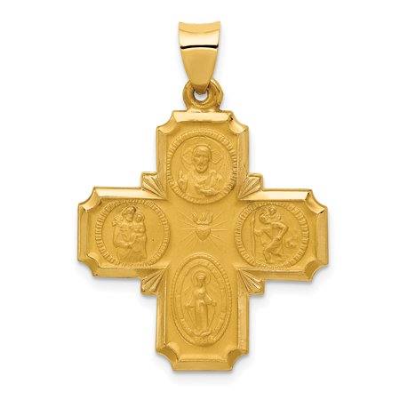 14k Yellow Gold Cross Cruciform Four Way Medal Pendant Charm (Gold Medals Country)