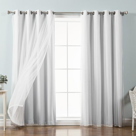 Best Home Fashion Mix Match Tulle Sheer Lace Blackout Curtain Set Of 4
