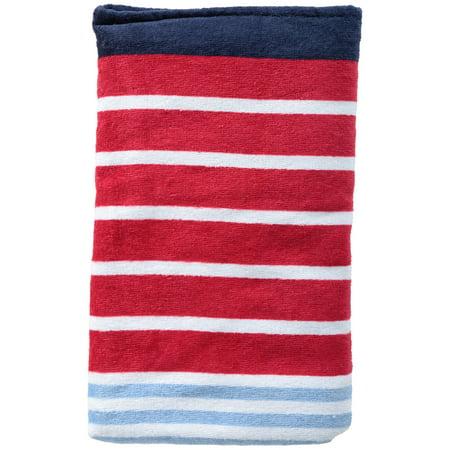 "Mainstays Cotton 28"" x 60"" Variegated Multi Stripe Sheared Beach Towel, 1 Each"