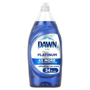 Dawn Platinum Liquid Dish Soap, Refreshing Rain Scent, 34 Fl Oz