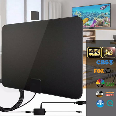 Digital Amplified Indoor HD TV Antenna Up to 200 Miles Range, Amplifier Signal Booster Support 4K 1080P UHF VHF Freeview HDTV Channels, 10ft Coax