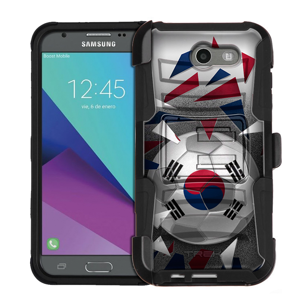 Samsung Galaxy J3 Prime Armor Hybrid Case Soccer Ball Korea Flag by Trek Media Group