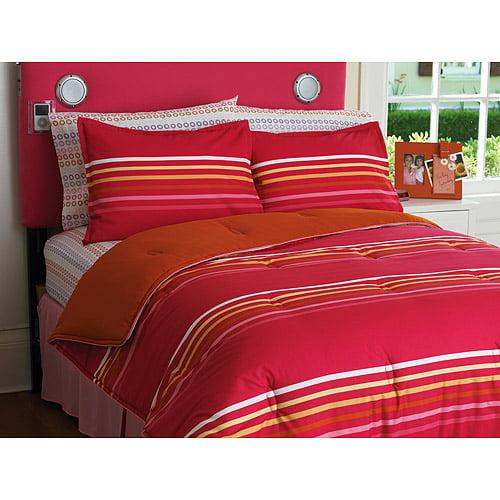 Your Zone Reversible Comforter and Sham Set, Pink Stripe/Orange Nectarine