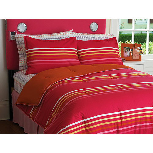 Your Zone Reversible Comforter and Sham Set, Pink Stripe/Orange Nectarine