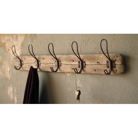 Recycled Wood Wall-Mount Coat Rack (5 hook wall coat rack)