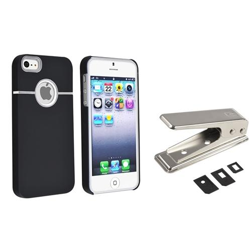 INSTEN Black Snap-On Rubber Hard Case With Chrome Hole For iPhone 5S 5+SIM Card Cutter