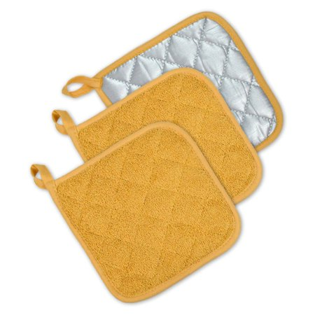 TERRY POTHOLDER MUSTARD S/3