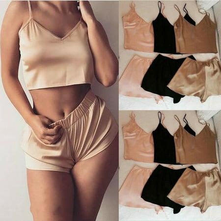 The Noble Collection Sexy Women Satin Crop Top+Shorts Set Sleepwear Lingerie Nightwear Pjs - Elf Pjs
