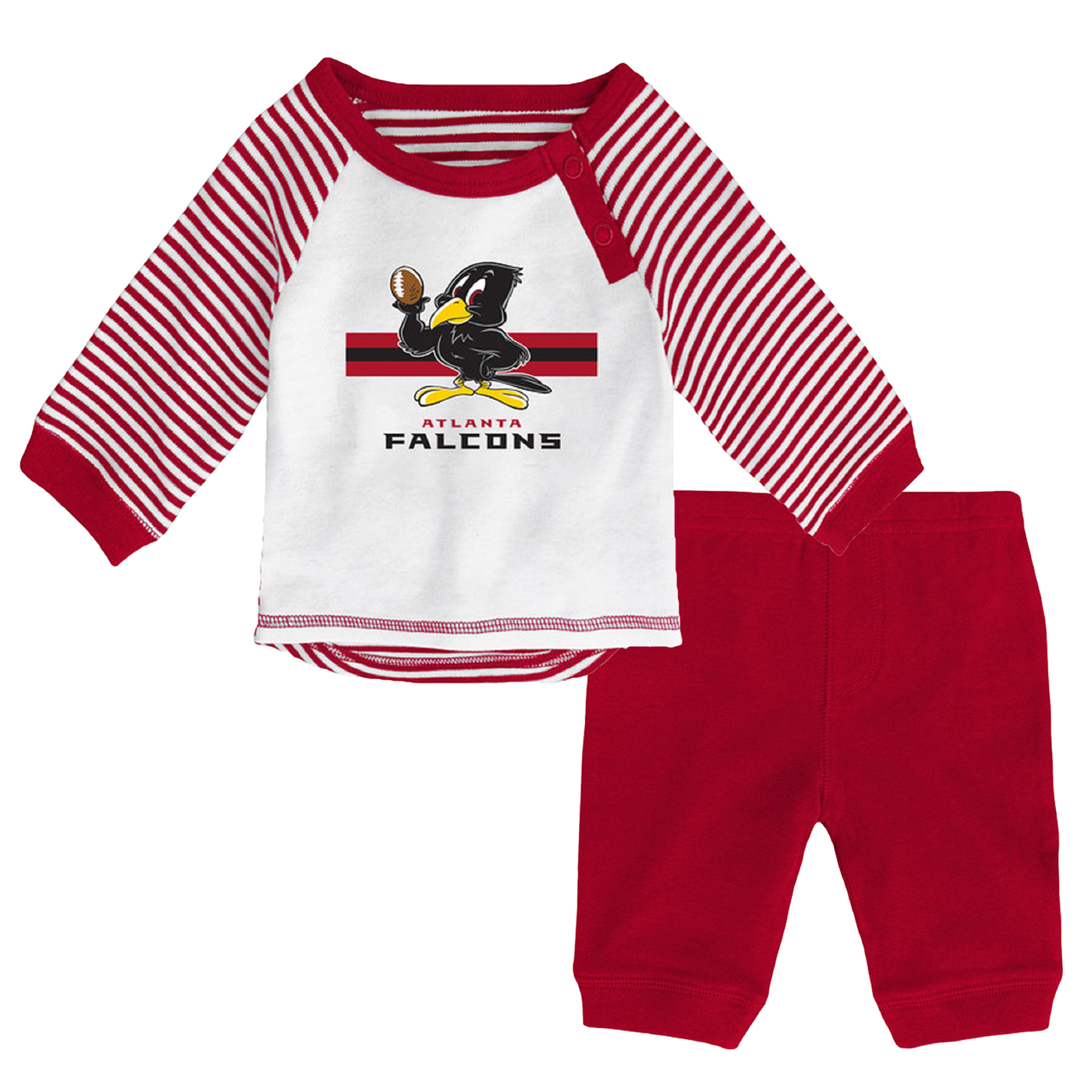 Newborn & Infant White/Red Atlanta Falcons Long Sleeve Pants Set