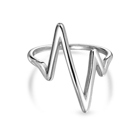 fa19deb79c475a Bling Jewelry - Sterling Silver Chevron Midi Ring Lightning Bolt Stackable  Rings - Walmart.com