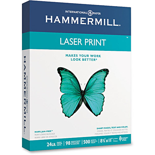 Hammermill Laser Print Office Paper, 98 Brightness, 8-1/2 x 11, White, 500 Sheets/RM