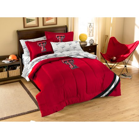 Virginia Tech Twin Comforter - NCAA Applique Bedding Comforter Set with Sheets, Texas Tech
