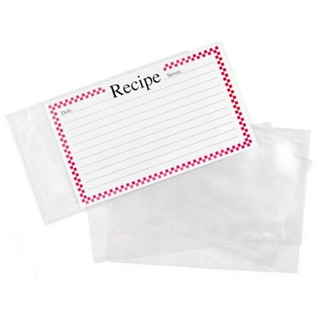 Clear 3 x 5 Inch Recipe Card Covers - Set of 48 ()