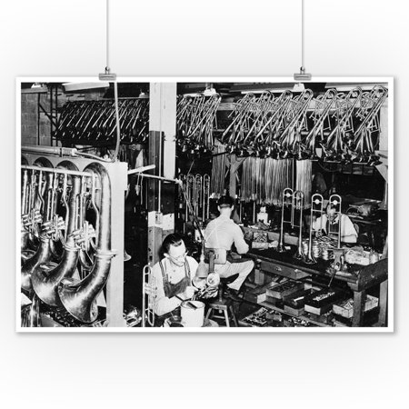Interior View of a Brass Instrument Factory, Tubas and Trombone - Vintage Photograph (9x12 Art Print, Wall Decor Travel - Vintage Brass Instruments