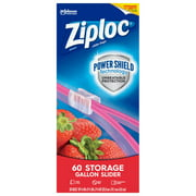 Ziploc Brand Slider Storage Gallon Bags with Power Shield Technology, 60 Count