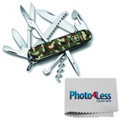 Victorinox Swiss Army Huntsman Pocket Knife, Camo, 91mm + Photo4less Cleaning Cloth