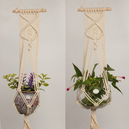 Macrame Plant Hanger Indoor Outdoor Hand Knit Hanging Suspend Planter Basket Net Cotton Rope K style - image 7 of 7