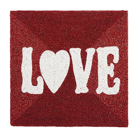 Nantucket Home Love Beaded Square Placemat, 14.25-Inch ()