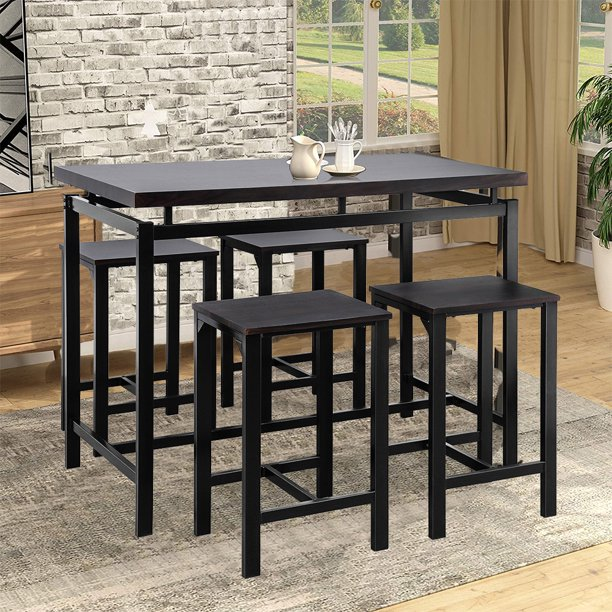 Enyopro Dining Table Set For 4 People 5 Piece Bar Table Set Vintage Rectangular Counter Height
